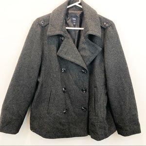 Gap Gray Wool Blend Pea Coat